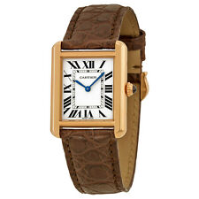 Cartier Tank Solo Silver Dial Brown Leather Ladies Watch W5200024