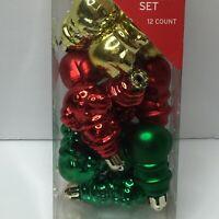 "12 Gold Red Green Mini Snowman 2.5"" Shiny Matt Ornaments Christmas Tree"