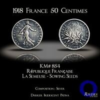 1918 France 50 Centimes.- Silver (XF)