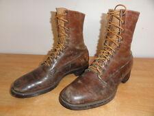 Vintage Circa 1930's Brown Leather BERGMANN SHOE MFG CO. Ankle Boots Sz-9D USA