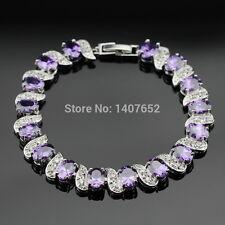 Silver, Purple Amethyst And White Topaz 11ct Tennis Bracelet Adjustable 7-8 inch
