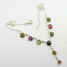 """Necklace 18.1"""" New Jewelry 925 Solid Silver Tourmaline"""