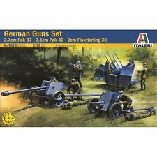 Italeri 1/72nd Scale WWII German Guns Set Pak 37, Pak 40, Flak 38 7026 New!
