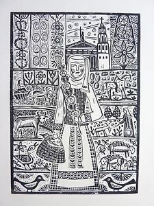 "Original Unique Linocut ""Coming from Kaziukas Fair"" Print by Lithuanian Artist"