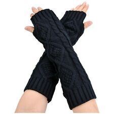 Womens Cashmere Protection Knitted Wool Long Fingerless Arm Warmers Gloves V5S3