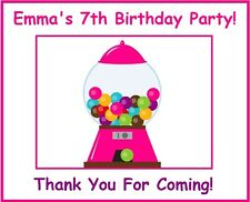 "(9)Personalized Candy Shop Party Theme Stickers,3 1/4"",Birthday,gumball,labels"