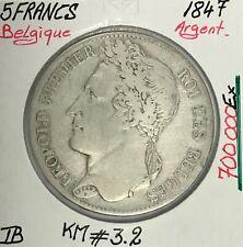 BELGIQUE - 5 FRANCS 1847 - Pièce de Monnaie en Argent // TB