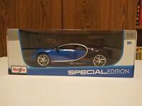 Maisto Blue and Black Bugatti Chiron 1:18 Brand New In Box Special Edition