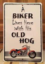 A Biker Lives Here With His Hog HARLEY-DAVIDSON TRIUMP INDIAN  BSA Garage Oil