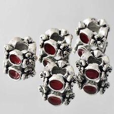 Charm free shipping 5pcs Silver Red Enamel Charm Flower Bead Loose Bracelet