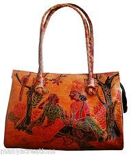 Indian LADIES BAG Shantiniketan Leather Bag depicting Radha Krishna