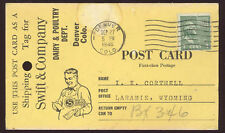 1946 SWIFT & CO DENVER CO POSTCARD * SHIPPING TAG USED & MAILED TO WYO PC6188