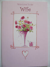 LOVELY COLOURFUL BOUQUET OF FLOWERS WIFE BIRTHDAY GREETING CARD