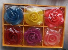 New In Box Scented Roses Candles Floating 6 Asst Gift Item.