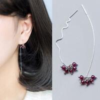 Damen Ohrringe Durchzieher Granat-Perlen echt Sterling Silber 925 Ohrstecker