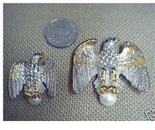 2 EAGLE PINS GOLD CRYSTAL PEARL Small & Large DAR MILITARY USA PATRIOTIC PIN SET