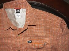 THE NORTH FACE Mens Checkered Long Sleeve Button Up Orange Shirt Size Large
