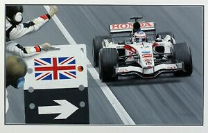 Ray Goldsbrough original painting Jenson Button first GRAND PRIX victory F1