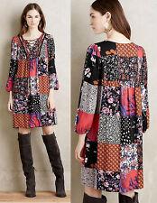 ANTHROPOLOGIE NWT Arcata Patchwork Dress Swing Peasant Red Black Sz SP $148