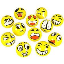 Smiley Face Stress Balls 12 Assorted Neon Colored Anti Stress Mini Squeeze Balls