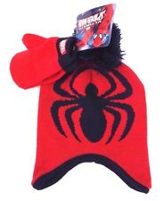 Marvel Ultimate Spider-Man Boy's Ear Flap Pom Hat With Mittens 2 Piece Set NWT