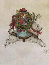 Christmas Bunny Hand painted Needlepoint Canvas By Peter Ashe