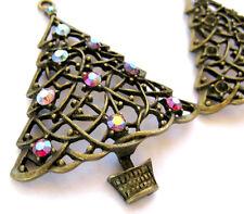 Gold Christmas Tree Pendant Bronze Vintage Xmas Jewelry Antique Bead Rhinestones
