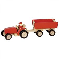 Traktor rot mit Anhänger, aus Holz, Trecker