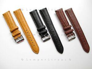 Genuine Italian Leather Teju Lizard Grain Band Strap 12mm 14mm 16mm 18mm 20mm