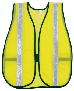 "Safety Vest, Polyester Mesh With 1.375"" White Reflective Stripes One Size NIP"