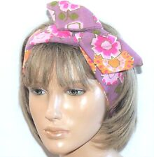 VINTAGE 60s 70s FLORAL COTTON HANDMADE BENDY HAIR WRAP WIRED SCARF HEADBAND E592