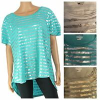 Lane Bryant Women's Scoop Neck Foiled Stripe Top Shirt Plus Size 14/16 18/20