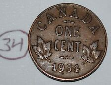 Canada 1934 1 Cent Copper Coin One Canadian George V Penny Lot #34
