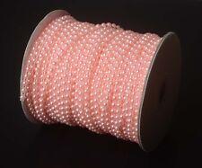 4/25  Inch 2YD Half Round  Pink Pearl Bead String Fabric Flatback DIY SewingTrim