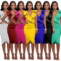 Women Evening Cocktail Drss Bodycon Midi Skirt Ruffle Casual Clothing Sleeveless