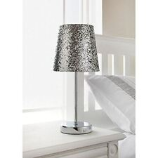 Glitter Table Lamp Sparkle Collection Metallic Silver With Chrome Stand