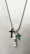 White Holwlite Bead And Turquoise Howlite Cross Necklace on 80 cm  chain.