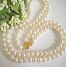 """Pearl Beads Necklace 17-18"""" Aaa 2 Rows 7-7.5Mm Akoya White Cultured"""