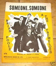 BRIAN POOLE & THE TREMELOES ~ SOMEONE ~  VINTAGE UK SONG SHEET MUSIC SHEET 1963