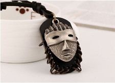Mens Boys Unisex Brown Tribal Mask Leather Pendant Necklace Surfer Punk Retro