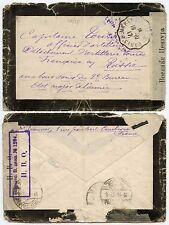 RUSSIA 1917 CENSORED MOURNING ENVELOPE FRANCE TPO MARLY LE ROI PARIS