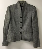 Lauren Ralph Lauren Tweed Jacket Blazer Size 6 Stand-Up Collar Lined Work Women