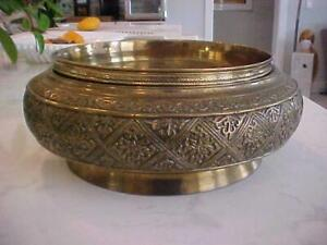 ANTIQUE LARGE & HEAVY ORNATE SOLID BRASS CENTERPIECE BOWL w/ TOP PIECE INSERT
