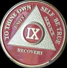Pink & Silver Plated 9 Year AA Chip Alcoholics Anonymous Medallion Coin Nine IX