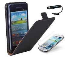 Schutzhülle f Samsung Galaxy S2 + i9100/i9105 Tasche Kunstleder Case schwarz