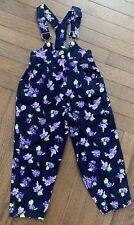VINTAGE Girl's Eve Byer California OVERALLS Size 6 Floral Purple NAVY Jumper