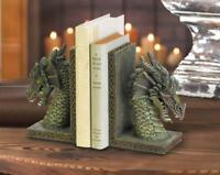2 medieval mother Dragon statue Gothic castle BOOKENDS book end statue pair