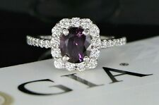 14K White Gold GIA Natural No Heat Oval Red Purple Sapphire Halo Diamond Ring