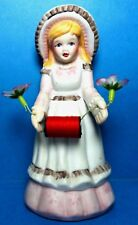 Vintage Country Girl  Porcelain Sewing Pin Cushion Doll Figurine
