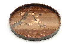 """1x Japanese 12"""" Sakura Blossoms Cherry Bark wood tray #270-066"""
